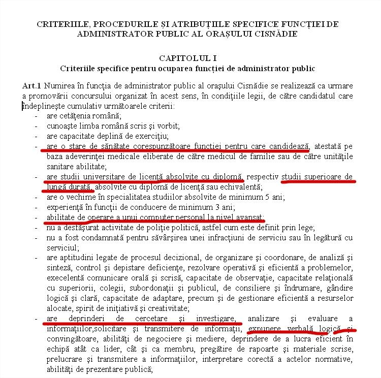 Criteriile specifice functiei de admintrator al orasului