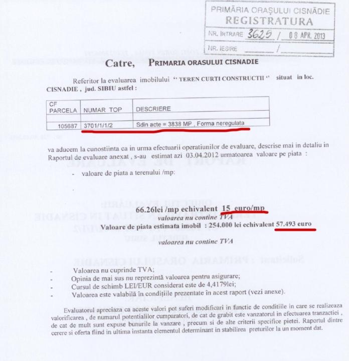 Evaluare teren la 15 EUR