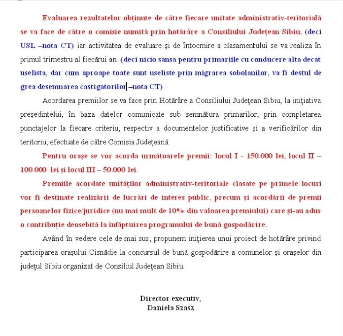 Participarea Cisnadiei la concursul de buna gospodarire PREMII