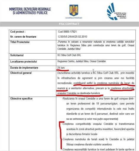 Fisa contract teren golf Cisnadie pentru atragere fonduri regio