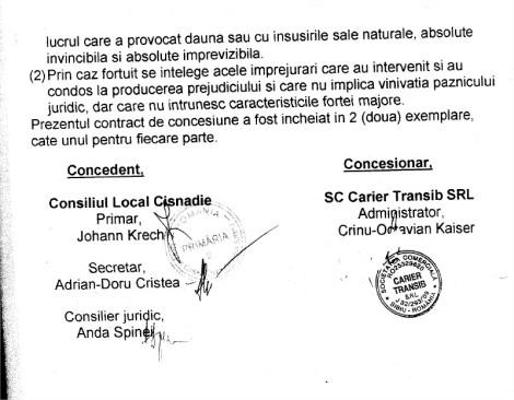 semnatari contract Cariera de piatra