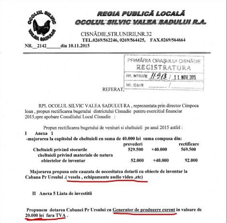 rectificare buget ocol silvic pentru cabana hujiana